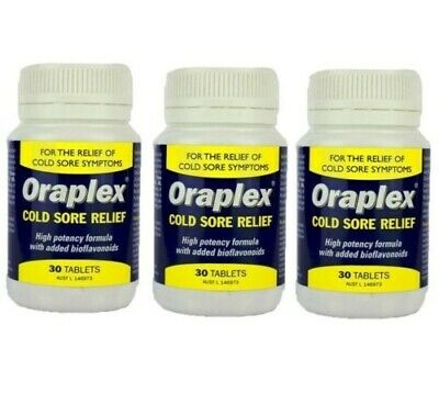 3 x Oraplex Cold Sore Relief 30 Tablets