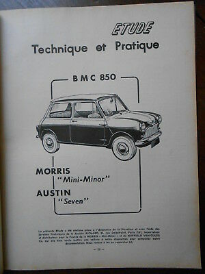 ► Revue Technique Automobile N°182 - Austin - Morris Bmc 850 - Ami 6 - Fiat 1961