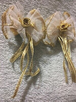 2 Handmade Hair Bows Chiffon With Gold Trim Rose Center Gold Tail Streamers