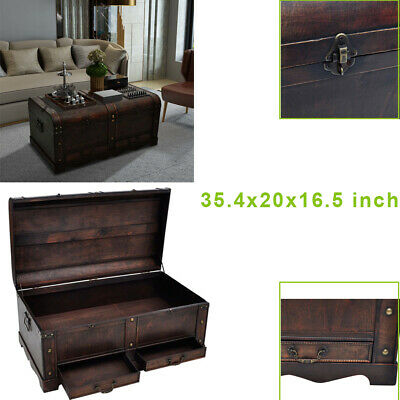 Vintage Large Wooden Treasure Chest Coffee Table Storage Trunk Antique Box Brown