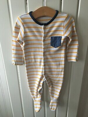 Baby Boy's Clothes 0-3mths- Yellow Striped Babygro/Sleepsuit By Mothercare