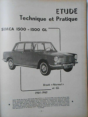 ► Revue Technique - Simca 1500 - Gl - Break - Normal -  1964