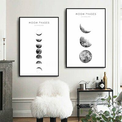 Nordic Moon Phases Canvas Abstract Poster Print Minimalist Wall Art Painting
