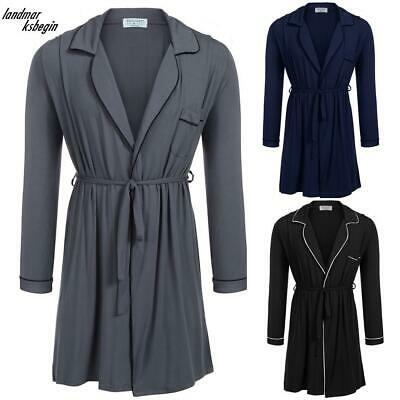 Men Long Sleeve Lounge Sleepwear Long Robe with Belt LDMB