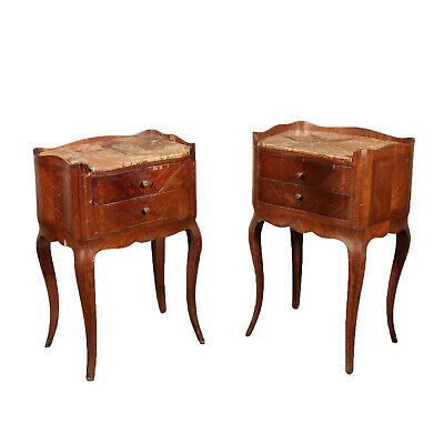 Pair of Nightstands with Marble France Mid 19th Century