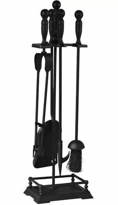 Fire Vida Elton 5 Piece Steel Fireplace Tool Set, Black