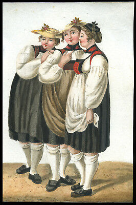 Antique 18Th/19Th Century Painting~Women In Traditional Dress/Costume~European?