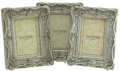 "THREE Shabby & Chic Vintage Ornate Antique Silver Photo frames - 6""x4"" Picture"