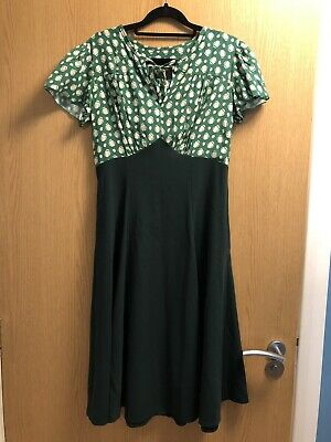 121f82a49c6 House of Foxy Vintage Inspired 1940 s Grable Tea Dress Emerald Deco Dot