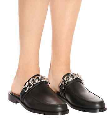 c5954919e GIVENCHY CHAIN BLACK Leather Loafer Mule Slide Shoes Size 37 ...