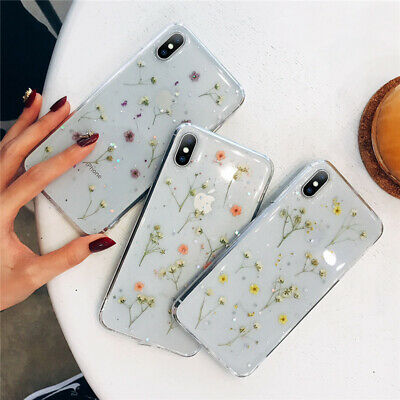 For iPhone XS Max XR 8 Plus Ultra Slim Clear Soft TPU Flower Pattern Case Cover