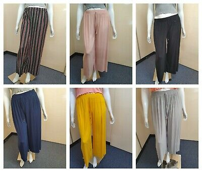 Womens Ladies Plain Plazzo Trouser Lounge Stretchy Night Pjs One Size Fits 8-16