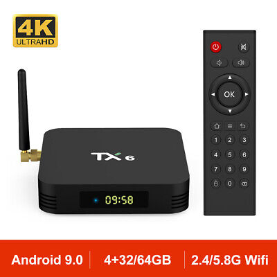 Android 9.0 TX6 Smart TV BOX H6 Quad Core 2.4G/5G Wifi 4K Media Player TV Caja
