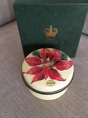 Old Tupton Ware Tube Lined Poinsettia Large Trinket Box Jeanne Mcdougall Boxed