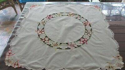 Vintage Hand Embroidered  & Cutout design Flowers Table Cloth,85 cms x 85 cms