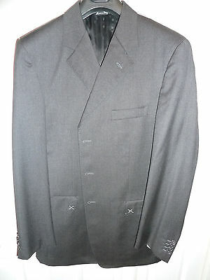 NEW $3000 LUCIANO BARBERA Suit 44 L Long ITALY Charcoal Dark Gray 100% wool 54