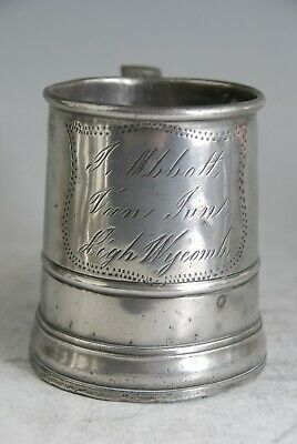 Fine Antique Pewter Pint Tankard Mug Measure By Vecchio, Van Inn, High Wycombe