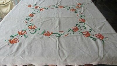 Vintage Hand Embroidered Linen Tablecloth Orange Tiger Lilies 128 x 122 cms