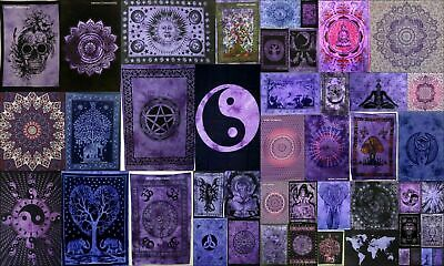 Purple Color Poster Tapestry Wall Hanging Beautiful Cotton Textile Small Collage
