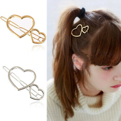 Big Small Peach Heart Bobby Pin Women Girls Hollow Geometric Polished Hair Clips