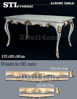 5 3D STL Models Luxury Table 133 for CNC Router Carving Machine Artcam aspire