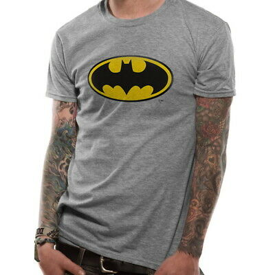 OFFICIAL DC Comics Batman Logo Symbol Grey Mens T-Shirt Top (NEW)