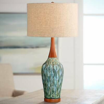 MID CENTURY MODERN Table Lamp Ceramic Blue Wood for Living ...
