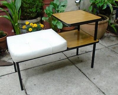 Original Vintage Retro 1960's Telephone Table. White Vinyl Seat. Wirral Collect
