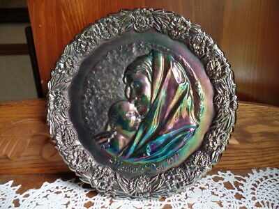 Vintage Fenton Glass Collectible Plate - Mother's Day 1971 - Madonna and Child