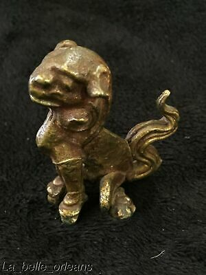 VINTAGE MINIATURE CAST BRASS FIGURINE OF FOO DOG. MUST SEE . ODDITIES. L@@k!