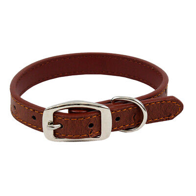 Rustic Brown Ostrich Leather Print Dog Collar Small-Medium Breed