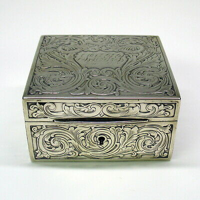 Antique American sterling silver dresser box with Dragons mythical beasts 1909