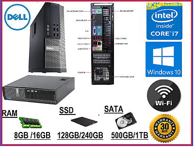 Dell Optiplex 9020 i7-4770 8GB 16GB RAM 500GB 1TB HDD 128GB 240GB SSD Win10 PC