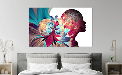 Abstract Colorful Woman Portrait Tree Print Home Decor Wall Art choose your size