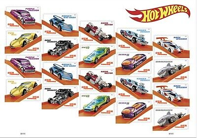 2018 Hot Wheels Forever Stamps By Usps - Sheet Of 20