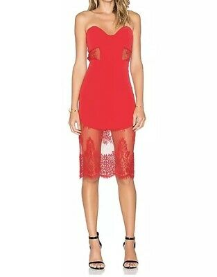 23594446dbfe NWT NBD x REVOLVE Picture Me Sweetheart Lace Cut Out Dress in Red XS Formal