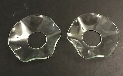 Pair of Clear Glass Bobeches Candle Collar Wax Drip Protector Catchers ~2 1/2 in