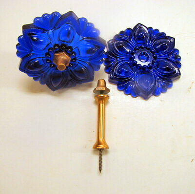 Vintage Cobalt Blue 4in. Depression Glass Curtain Tie Backs - Matching Pair