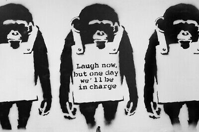 Banksy Laugh Now  - CANVAS OR PRINT WALL ART