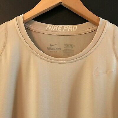 63a634aa69e Nike Pro Combat DRI-FIT Hypercool Fitted Training Shirt Beige Short Sleeve  XXL