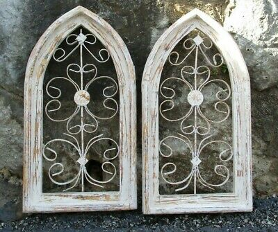Pair Teardrop Cathedral Wood Window Frames,Gothic Church Window, Architectural