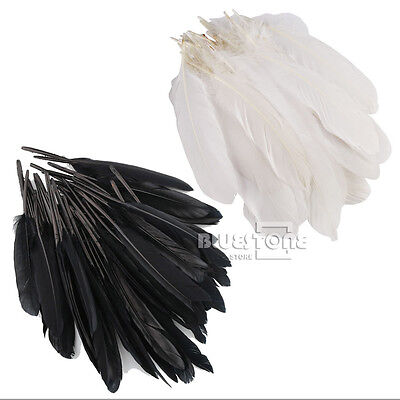 50/100pcs Large Goose Quill Feathers 6-8 inches Wholesale Quality White/Black
