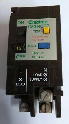 Crabtree C-50 15 Amp 10mA D.P RCCB  5115/010 ! Live Tested ! M4.5 Type 2 BS4293
