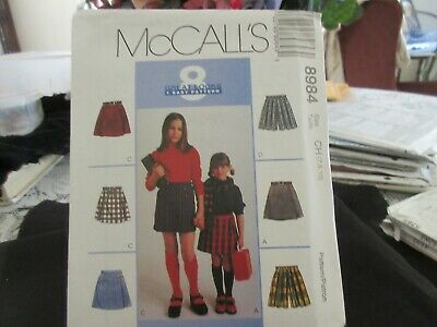 Sewing - PATTERN McCall # 8984 Girl's Assortment of  SKORTS & TIES Size 7-8-10