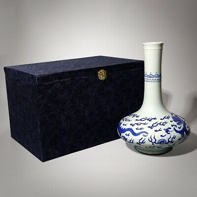 "Exquisite Chinese Antiques Blue And White Porcelain Dragons Vases Pot 10.6""H"