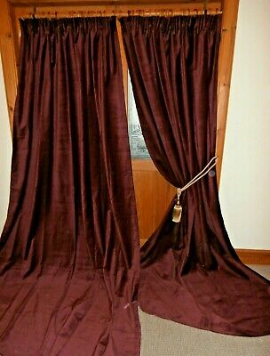ONE PAIR Claret Red Velvet Curtains 100 Inch 2.54m DROP Immaculate.BUY IT NOW