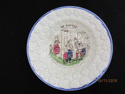 19th century Temperance Pearlware plate - The Bottle Scene Fourth Poverty drives