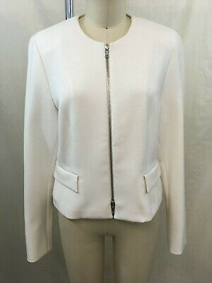St. Emile White Silver Zip Front Two Pocket Jacket Size 8