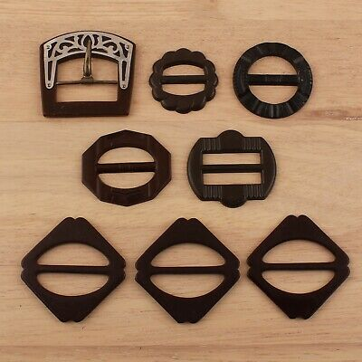 Lot 7 Vintage Brown Bakelite Sash Belt Buckles Simi Tested
