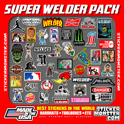 SUPER WELDER PACK 40+ Hard Hat Stickers HardHat Sticker & Decals, Welding Hood